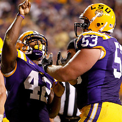 September 10, 2011; Baton Rouge, LA, USA;  LSU Tigers running back Michael Ford (42) celebrates with teammate guard T-Bob Hebert (53) during the first half at Tiger Stadium.  Mandatory Credit: Derick E. Hingle