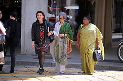 Tara Gandhi granddaughter of Mahatma Gandhi leaves his hotel in the centre