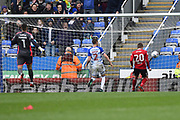 Goal - Freddie Sears (20) of Ipswich Town heads home the ball in to an empty net after charging down the clearance of Vito Mannone (1) of Reading to make the score 0-3 during the EFL Sky Bet Championship match between Reading and Ipswich Town at the Madejski Stadium, Reading, England on 28 April 2018. Picture by Graham Hunt.