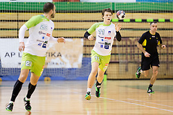 Jure Dolenc of Slovenia during friendly handball match between National Teams of Slovenia and F.Y.R. of Macedonia before EHF EURO 2016 in Poland on January 4, 2015 in Sports hall Krsko, Krsko, Slovenia. Photo by Urban Urbanc / Sportida