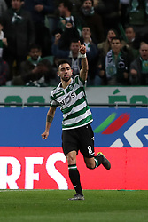 February 3, 2019 - Lisbon, Portugal - Sporting's midfielder Bruno Fernandes from Portugal celebrates after scoring a goal during the Portuguese League football match Sporting CP vs SL Benfica at Alvalade stadium in Lisbon, Portugal on February 3, 2019. (Credit Image: © Pedro Fiuza/NurPhoto via ZUMA Press)