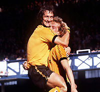 Kenny HIbbitt (Wolves) celebrates with Andy Gray.Everton v Wolverhampton Wanderers.15/9/79 Credit:Colorsport.