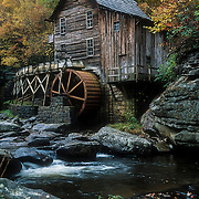 Glade Creek Grist Mill with rocks in foreground