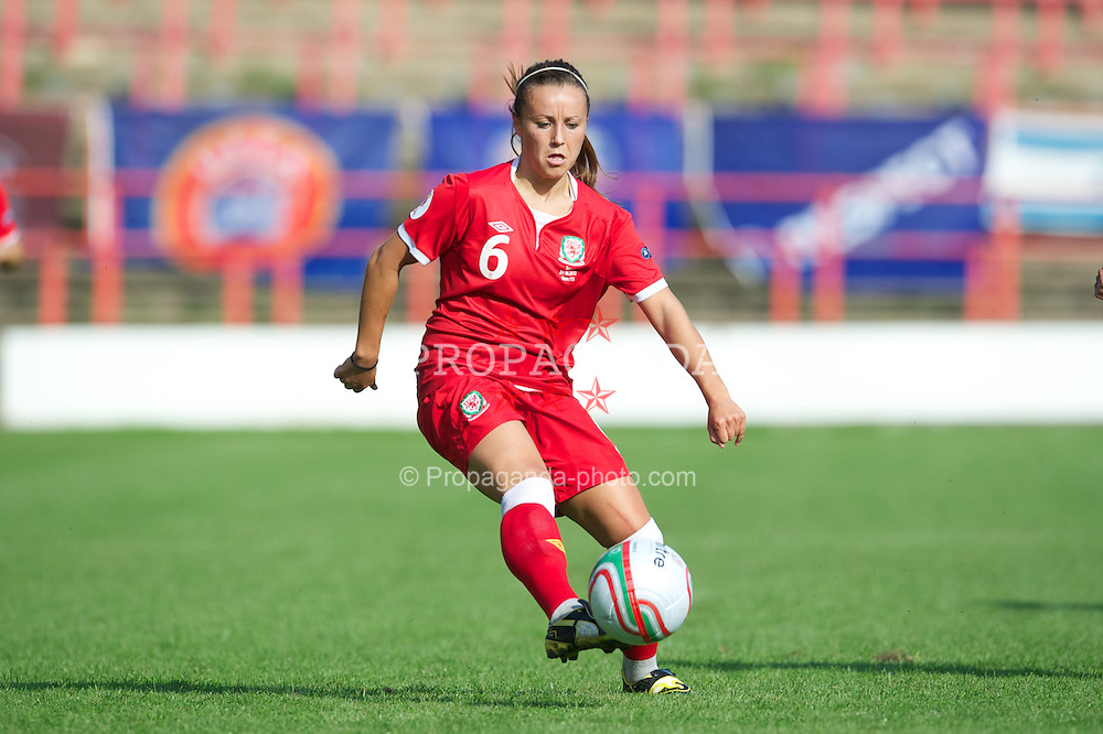 WREXHAM, WALES - Wednesday, June 20, 2012: Wales' Natasha Harding in action against Israel during the UEFA Women's Euro 2013 Qualifying Group 4 match at the Racecourse Ground. (Pic by David Rawcliffe/Propaganda)