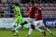 Forest Green Rovers Liam Shephard(2) crosses the ball during the EFL Sky Bet League 2 match between Northampton Town and Forest Green Rovers at Sixfields Stadium, Northampton, England on 13 October 2018.