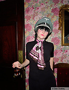 Alissa, wearing a Germany army hat, witha 2 Tone badge, Southend, UK 2006