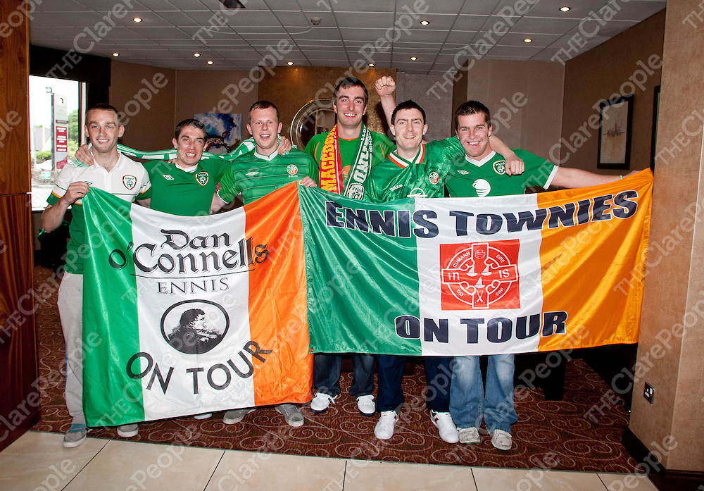 07.06.12 <br /> Irish fans getting ready to leave for the Eoro Championships in Poland, Danny McMahon, Jack Walsh, Kevin Brennan, Robbie McGann, Oisin O'Donnell and Niall O'Connor<br /> . Picture: Alan Place/Press 22.