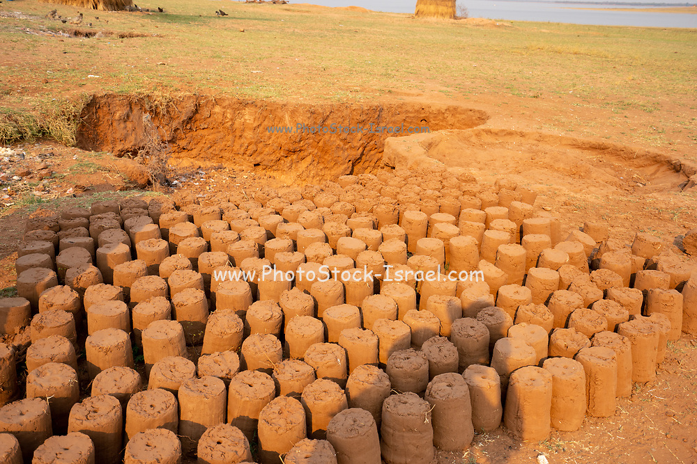 Mud bricks for building houses are sun dried at a Tonga fishing village on Lake Kariba, Zimbabwe
