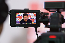 CARDIFF, WALES - Thursday, March 16, 2017: Wales' manager Chris Coleman, recorded on a television camera's monitor, during a press conference at the Vale Resort to announce his squad for the forthcoming 2018 FIFA World Cup Qualifying Group D match against Republic of Ireland. (Pic by David Rawcliffe/Propaganda)
