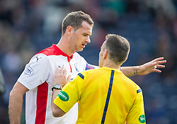 Falkirk's David McCracken injured.<br /> Raith Rovers 0 v 0 Falkirk, Scottish Championship game played 27/9/2014 at Raith Rovers Stark Park.