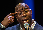 Magic Johnson gives a keynote address during the G2E at the Sands Expo sharing how he successfully transitioned from exceptional athlete to business executive, parlaying the skills and tenacity he acquired on the court into a winning formula for successful business ventures on Thursday, October 5, 2017.   L.E. Baskow