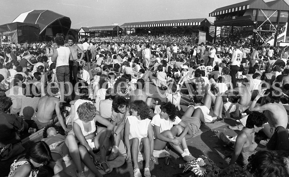Slane concert 1983 held in the Phoenix Park that year. Fans enjoying themselves.<br /> (Part of the Independent Newspapers/NLI collection.)