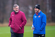 Craig Levein, manager of Heart of Midlothian and Austin MacPhee, assistant manager of Heart of Midlothian take training, ahead of the SPFL Premiership match between Hearts v St Mirren at Oriam Sports Performance Centre, Riccarton, Edinburgh, Scotland on 22 November 2018.