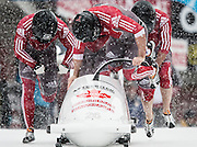 St. Moritz, Switzerland - February 2, 2013:  FIBT Bobsleigh and Skeleton World Championships.  Four-Man bob runs 1 and 2.