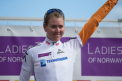 Thalita de Jong (NED) of Rabo-Liv Cycling Team celebrates winning the best young rider's white jersey after the 117,5 km third stage of the 2016 Ladies' Tour of Norway women's road cycling race on August 13, 2016 between Svinesund, Sweden and Halden, Norway. (Photo by Balint Hamvas/Velofocus)