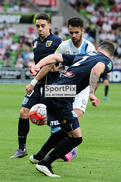 Steve Kuzmanovski of Melbourne City, Storm Roux of Central Coast Mariners - Hyundai A-League,  25th October 2015, RD 3, Melbourne City FC v Central Coast Mariners score at half time 1:1 © Mark Avellino | SportPix.org.uk