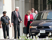 Star witness Linda Tripp enters the Federal Courthouse July 28, 1998 in Washington, DC. Tripp is testifying before Kenneth Starr's grand jury investigating an alleged presidential affair.