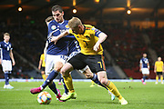 Scotland midfielder Kenny McLean (16) (Norwich City)tries to hold off the attack of Belgium midfielder Kevin De Bruyne (7) (Manchester City) during the UEFA European 2020 Qualifier match between Scotland and Belgium at Hampden Park, Glasgow, United Kingdom on 9 September 2019.