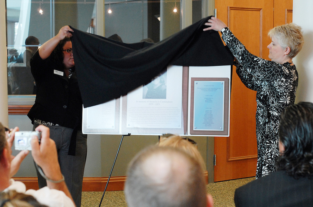 On Saturday friends, family, students, and faculty gathered for the dedication of The Amanda J. Cunningham Leadership Center in The New Baker Center. Those who knew Amanda talked about their fond memories of her fun spirit and great passion for life.