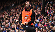Joe Ledley watches on from the sidelines after his heroic dance for Wales during the Barclays Premier League match between Crystal Palace and West Ham United at Selhurst Park, London, England on 17 October 2015. Photo by Michael Hulf.