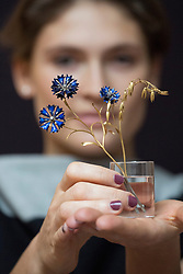 © licensed to London News Pictures. London, UK 23/11/2012. 'A Faberge Study of Cornflower and Oats' estimated to be sold for £180,000-250,000 by Sotheby's on 26 November 2012 in London. Photo credit: Tolga Akmen/LNP