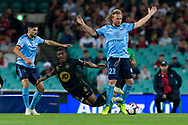 SYDNEY, AUSTRALIA - OCTOBER 27: Western Sydney Wanderers midfielder Roly Bonevacia (28) is fouled by Sydney FC defender Rhyan Grant (23) at The Hyundai A-League Round 1 soccer match between Sydney FC and Western Sydney Wanderers FC The Sydney Cricket Ground in Sydney on October 27, 2018. (Photo by Speed Media/Icon Sportswire)