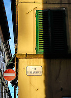 LUCCA ITALY - CIRCA MAY 2015:  Via Burlamacchi in Lucca, a typical street in the historic Tuscan town