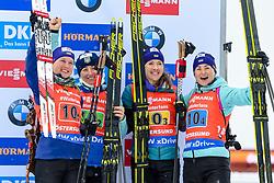 March 16, 2019 - –Stersund, Sweden - 190316 Anastasiya Merkushyna, Vita Semerenko, Yuliia Dzhima and Valj Semerenko of Ukraine celebrate after competes in the Women's 4x6 km Relay during the IBU World Championships Biathlon on March 16, 2019 in Östersund..Photo: Petter Arvidson / BILDBYRÃ…N / kod PA / 92268 (Credit Image: © Petter Arvidson/Bildbyran via ZUMA Press)