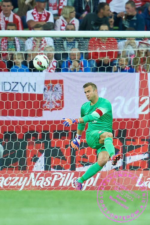 Goalkeeper Artur Boruc from Poland controls the ball during international friendly soccer match between Poland and Greece at PGE Arena Stadium on June 16, 2015 in Gdansk, Poland.<br /> Poland, Gdansk, June 16, 2015<br /> <br /> Picture also available in RAW (NEF) or TIFF format on special request.<br /> <br /> For editorial use only. Any commercial or promotional use requires permission.<br /> <br /> Adam Nurkiewicz declares that he has no rights to the image of people at the photographs of his authorship.<br /> <br /> Mandatory credit:<br /> Photo by &copy; Adam Nurkiewicz / Mediasport