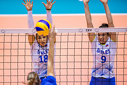 23-08-2017 NED: World Qualifications Greece - Slovenia, Rotterdam<br /> Sloveni&euml; wint met 3-0 / Sasa Planinsec #18 of Slovenia, Iza Mlakar #9 of Slovenia