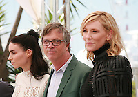 Actress Rooney Mara, Director Todd Haynes and actress Cate Blanchett at the photocall for the film Carol at the 68th Cannes Film Festival, Sunday May 17th 2015, Cannes, France.
