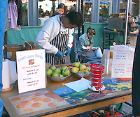 Fresh juice stand at market for editorial use only