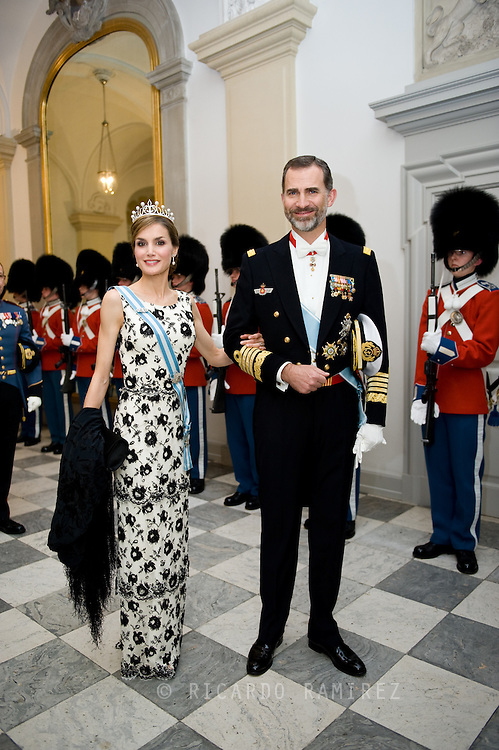 15.04.2015. Copenhagen, Denmark.Queen Letizia and King Felipe of Spain attended a Gala Dinner at Christiansborg Palace on the eve of The 75th Birthday of Queen Margrethe of Denmark.Photo:© Ricardo Ramirez