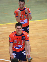 Davor Cebron and Angel Perez at last final volleyball match of 1.DOL Radenska Classic between OK ACH Volley and Salonit Anhovo, on April 21, 2009, in Arena SGS Radovljica, Slovenia. ACH Volley won the match 3:0 and became Slovenian Champion. (Photo by Vid Ponikvar / Sportida)