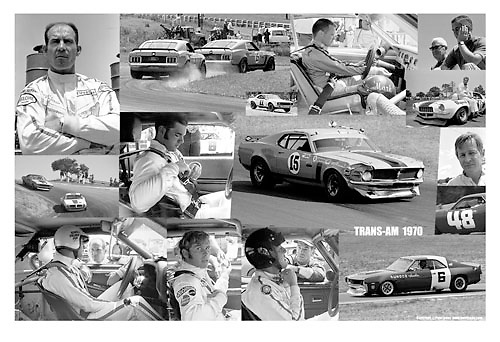 """The great players of the great 1970 Trans-Am season, the factory warfare among 6 brands of """"pony car"""" raced — HARD — by America's most hardened combat drivers. Available as simulated here, a 12x18 presentation on 13x19 paper. The price of $199 includes FREE WORLDWIDE POSTAGE and Pete's signature, personalized if you wish; be sure to tell me how you want it done."""