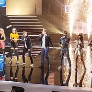 NLD/Amsterdam20160518 - 1e Liveshow Idols 5 2016, Thijs Roseboom, Jeffrey Saabeel, Kimberly Fransen, Amber Thijssen, Tom de Visser, Rowen Aida Ben Rabaa, Nina den Hartog, Steve Langreder
