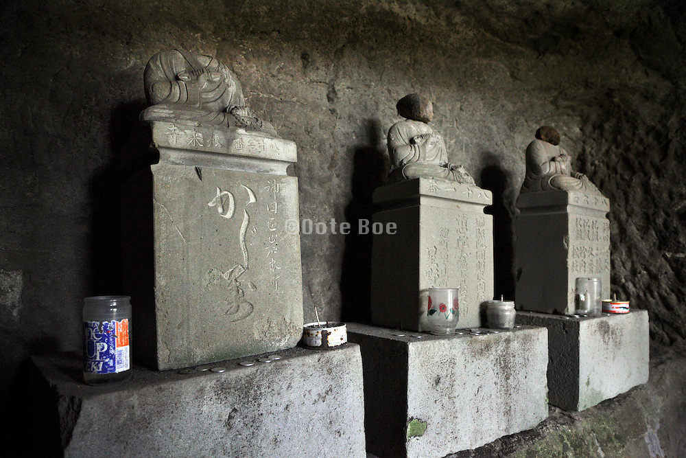 decapitated Buddhist sculptures in Yagura Japan