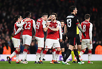 Football - 2017 / 2018 UEFA Europa League - Round of Sixteen, Second Leg: Arsenal (2) vs. AC Milan (0)<br /> <br /> Arsenal's Granit Xhaka celebrates scoring his side's second goal with Calum Chambers<br /> <br /> COLORSPORT/ASHLEY WESTERN