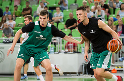 Vlatko Cancar and Gezim Morina during public training session of Slovenian National Basketball team, on August 1, 2016 in Arena Stozice, Ljubljana, Slovenia. Photo by Vid Ponikvar / Sportida