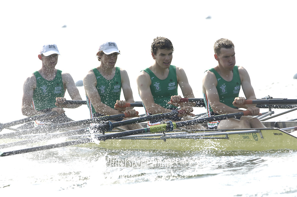 2006, U23 Rowing Championships, Hazewinkel, BELGIUM Thursday, 20.07.2006.IRL BLM4X, bow Liam MOLLOY, Ben CLARKE, Gerard WARD, Kieran RABBITT. Photo  Peter Spurrier/Intersport Images email images@intersport-images.com....[Mandatory Credit Peter Spurrier/ Intersport Images] Rowing Course, Bloso, Hazewinkel. BELGUIM