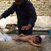 25th Jan 2004.Baghdad, Iraq.A large number of babies are being still born due the stress mothers are suffering due to the daily bombings, fighting and kidnappings. A funeral worker prepares the body of a baby for burial.