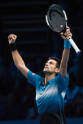21-11-2015 GBR: ATP Tennis Tour Finals day 7, London<br /> Novak Djokovic (SRB) [1] celebrates his win over Rafael Nadal (ESP) [5]. Djokovic won the match 6-3, 6-3.<br /> <br /> ***NETHERLANDS ONLY***