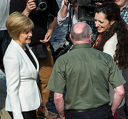Deputy First Minister Nicola Sturgeon joined Yes Scotland chief executive Blair Jenkins and volunteers as they unveiled a new initiative for the final 100 days of the referendum campaign. Ms Sturgeon chatted to Dennis Canavan and Tasmina Ahmed-Sheikh. 9 June 2014 (c) GER HARLEY | StockPix.eu