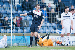 Falkirk's David McCracken cele Raith Rovers Dougie Hill own goal.<br /> Half time : Raith Rovers 2 v 1 Falkirk, Scottish Championship game today at Starks Park.<br /> &copy; Michael Schofield.