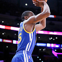 11 April 2014: Golden State Warriors guard Jordan Crawford (55) takes a jumpshot during the Golden State Warriors 112-95 victory over the Los Angeles Lakers at the Staples Center, Los Angeles, California, USA.