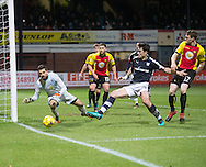 Dundee&rsquo;s Julen Etxabeguren stretches in vain as Partick Thistle's Tomas Cerny mops up the danger - Dundee v Partick Thistle in the Ladbrokes Scottish Premiership at Dens Park, Dundee.Photo: David Young<br /> <br />  - &copy; David Young - www.davidyoungphoto.co.uk - email: davidyoungphoto@gmail.com