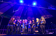 Tangled up in Blue, a UW a capella group, performs on the Terrace stage at Sunburst Festival at Memorial Union in 2014.