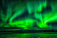 Aurora borealis over Mt. McKinley, Talkeetna and Susitna Rivers