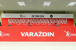 Press conference room before handball match between National teams of Spain and Czech Republic on Day 1 in Preliminary Round of Men's EHF EURO 2018, on Januar 13, 2018 in Skolsko Sportska Dvorana, Varazdin, Croatia. Photo by Mario Horvat / Sportida