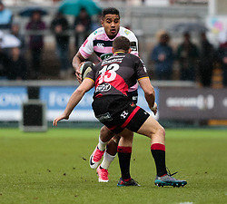 Cardiff Blues' Rey Lee-Lo lines up Dragons' Jack Dixon<br /> <br /> Photographer Simon King/Replay Images<br /> <br /> Guinness Pro14 Round 11 - Dragons v Cardiff Blues - Tuesday 26th December 2017 - Rodney Parade - Newport<br /> <br /> World Copyright © 2017 Replay Images. All rights reserved. info@replayimages.co.uk - www.replayimages.co.uk